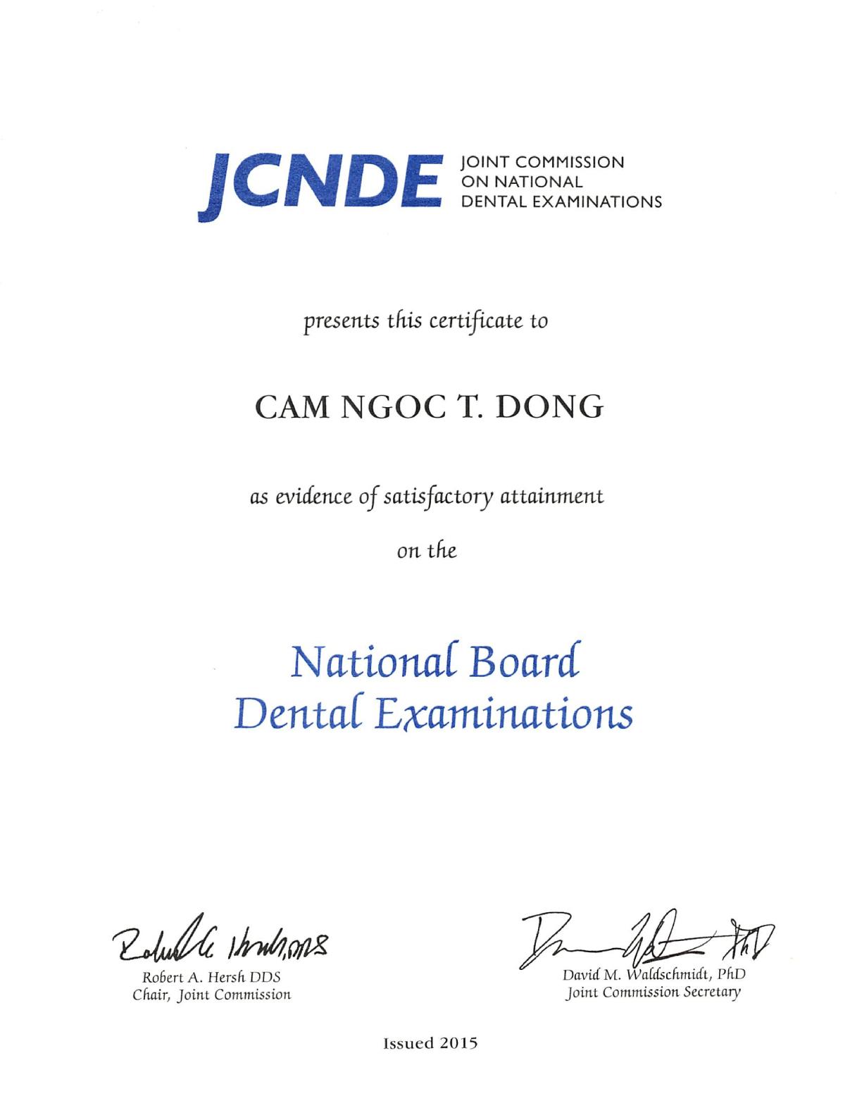 JCNDE National Board Dental Exam