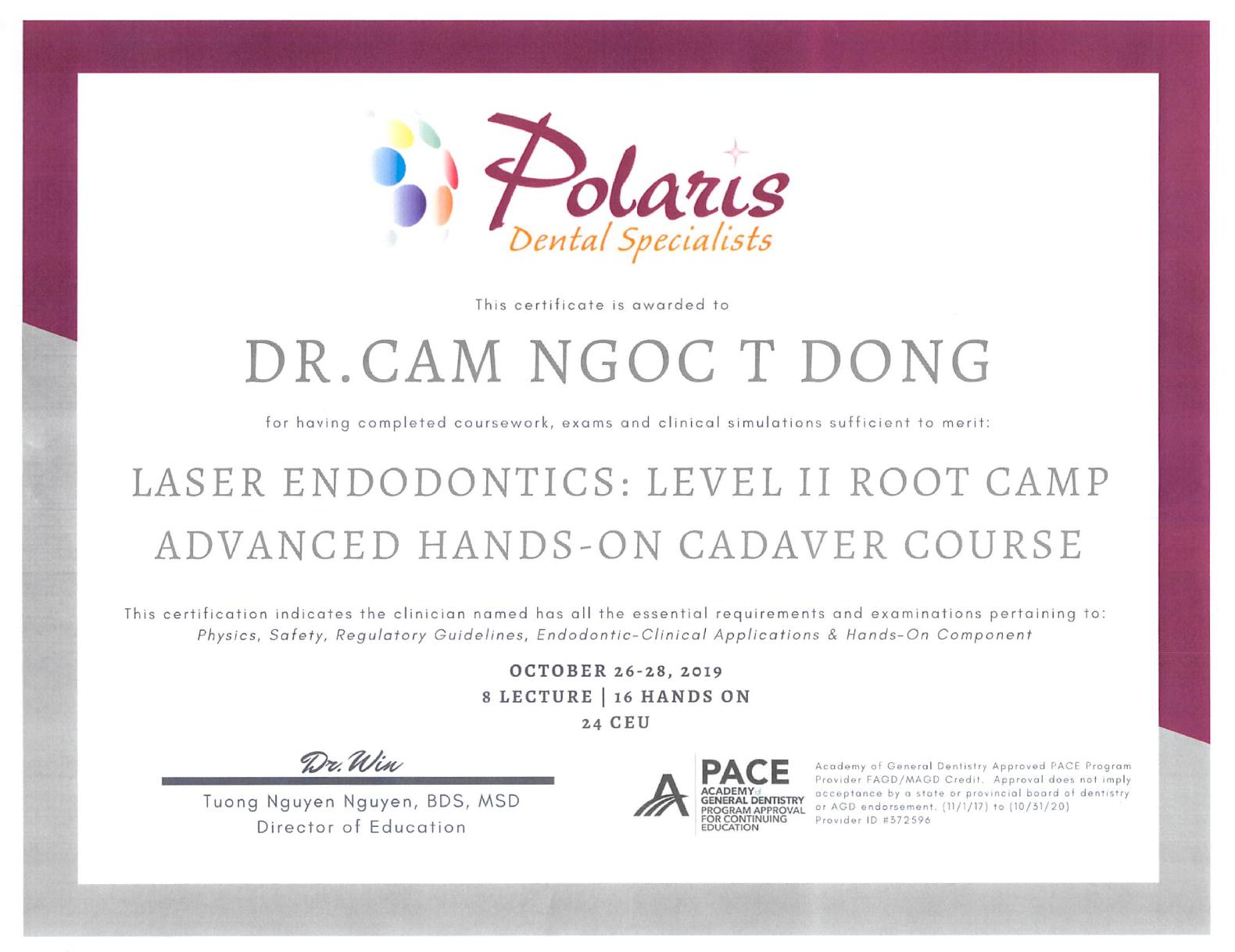Polaris Laser Endo Root Camp hands on cadaver